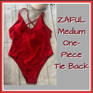 ZAFUL One-Piece Red Tie Back Swimsuit